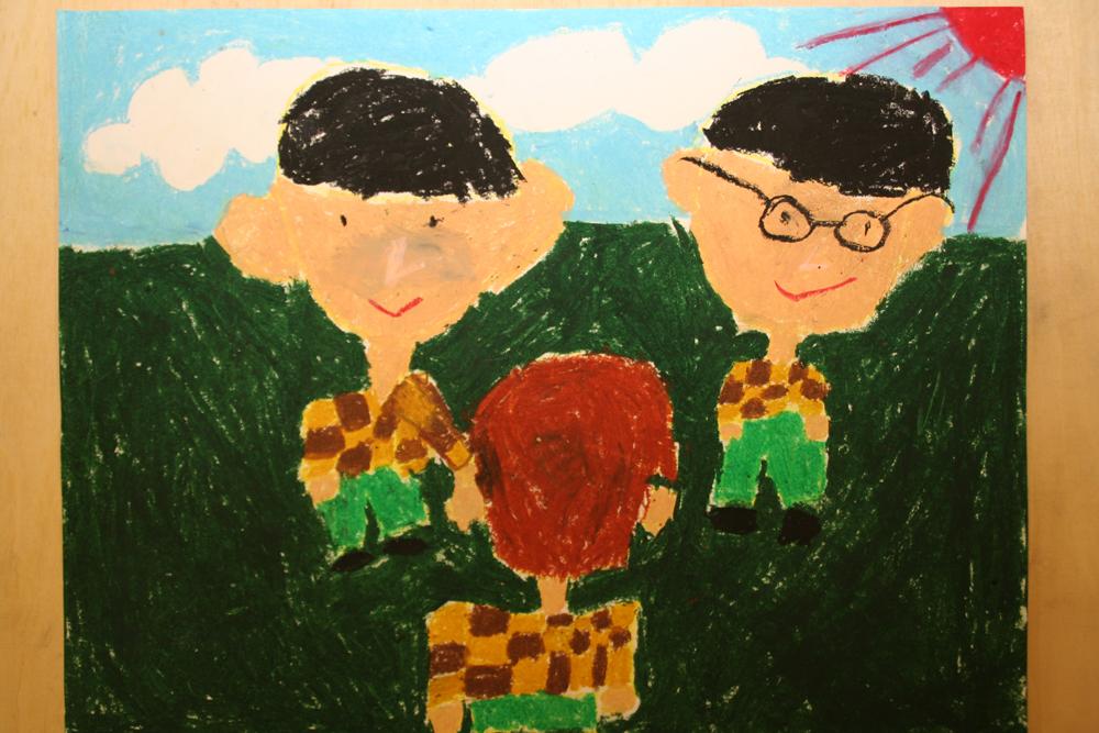 小学生庆元旦蜡笔画