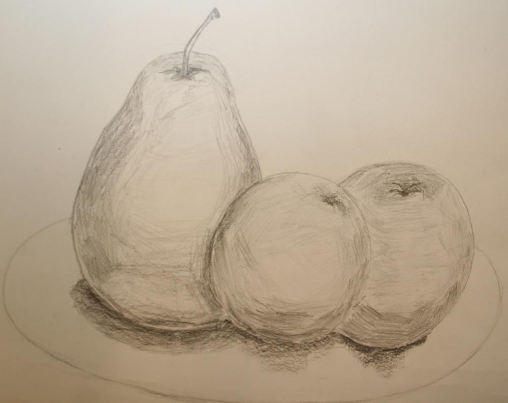 单个水果素描_单个水果静物素描,单个罐子静物素描图片
